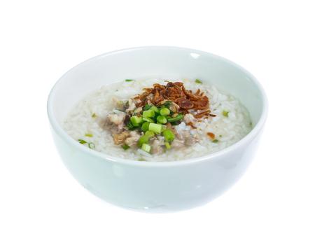 Boiled rice pork  isolated on white Stock Photo