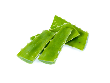 Fresh aloe vera leaves with water drops isolated on white Stock Photo