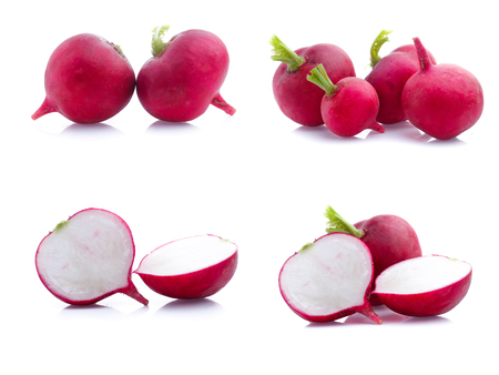 set of radish isolated on white background Stok Fotoğraf