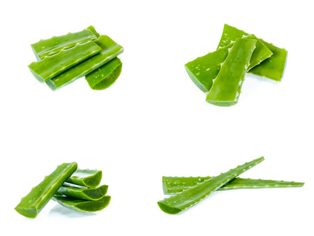 Fresh aloe vera leaves with water drops isolated on white(set)