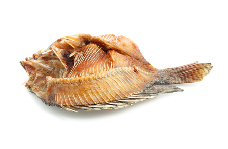 Fried Dried Fish isolated on white background Stock Photo