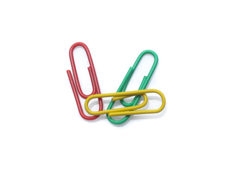 color paperclips on a white background Stock Photo