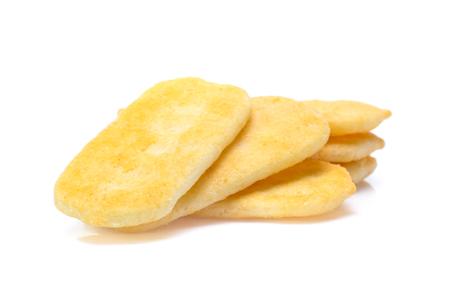 Rice cracker on white background