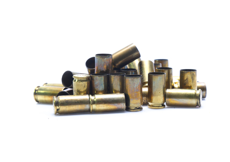 old Golden ammunition isolated on white background