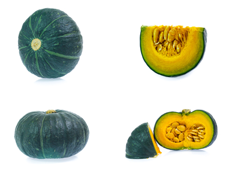 set of Green pumpkin isolated on the white background