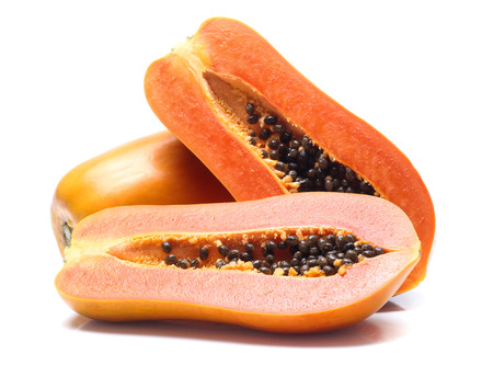 sweet papaya on white background