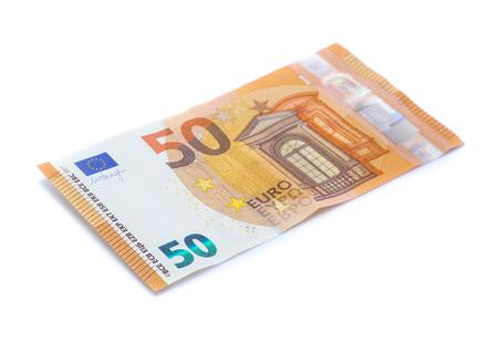 banconote in euro di denaro isolato su bianco Archivio Fotografico