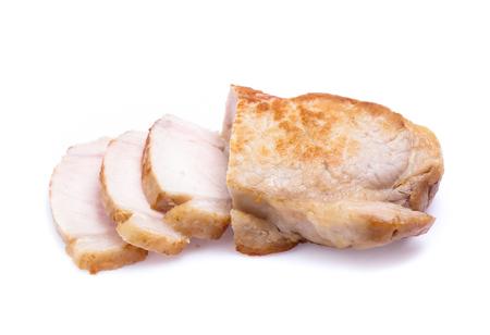 roasted pork slices isolated on white background