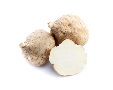 jicama on white background Imagens