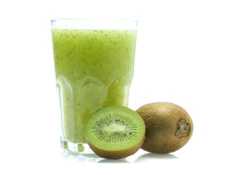 kiwi smoothie isolated on white background  in glass