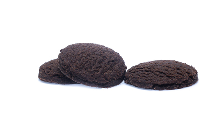 dark chocolate brownie cookies isolated on white 스톡 콘텐츠