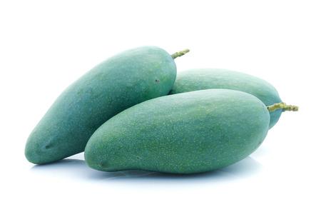 Fresh green mango fruit isolated on white Stock Photo