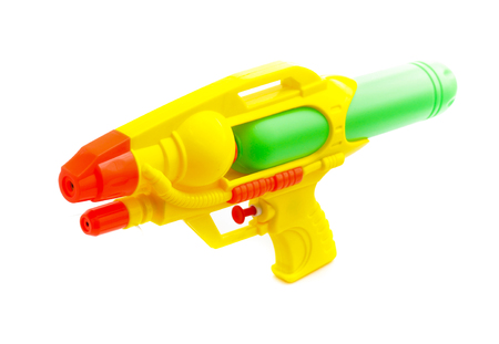 Plastic water gun isolated on white background Banque d'images
