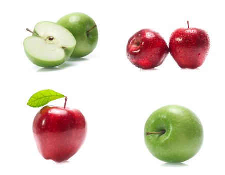 Grüner Apfel isoliert auf weißem Hintergrund (Set Mix Collection)
