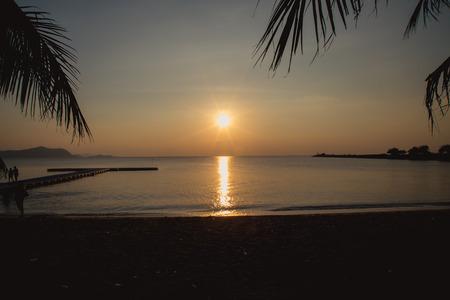 Beautiful sunset over the ocean. Sunrise in the sea 版權商用圖片
