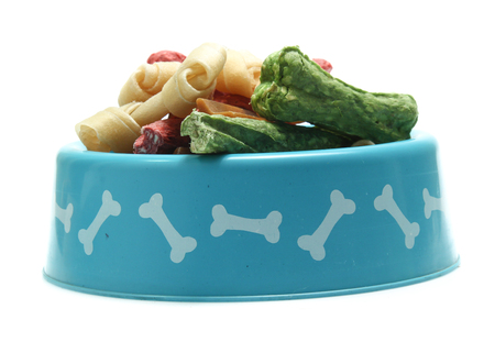 Bones and colorful sticks for dog treat with vitamin and oral health on white 版權商用圖片