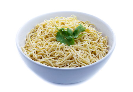 Yellow noodle isolated on white