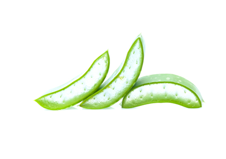 Slice Aloe Vera isolated on white