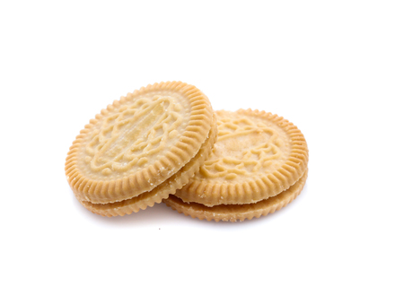 cookies with cream filling isolated on white background 免版税图像