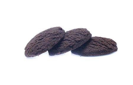 Dark chocolate brownie cookies isolated on white