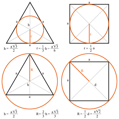 inscribed: Shapes with measurements vector
