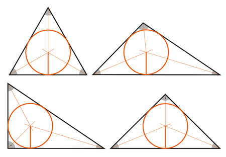 Circle inscribed in a triangle Vector illustration set
