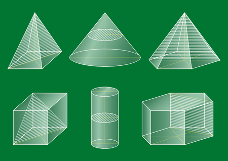 basic figure: 3d basic shapes. Prism, cube, pyramid, cone, cylinder. Cross-section. Illustration
