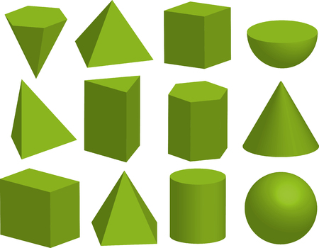 Basic 3d geometric shapes. Geometric solids. Pyramid, prism, polyhedron, cube, cylinder, cone, sphere, hemisphere. Isolated on white background.