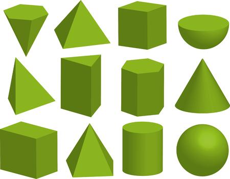 Podstawowe kształty geometryczne 3d. Bryły geometryczne. Piramida, pryzmat, wielościan, sześcian, walec, stożek, kula, półkula. Na białym tle.