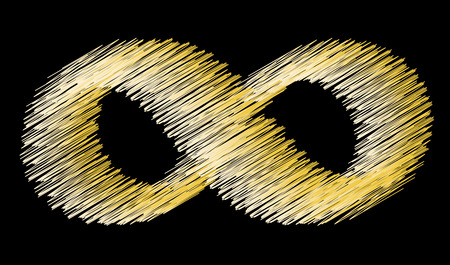 Infinity symbol on a black background. Scribble. Vintage style.