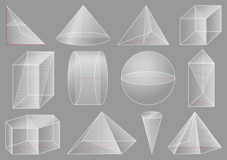 Three-dimensional geometric figure, school geometry. Graphical educational presentation. The cross-section solid.