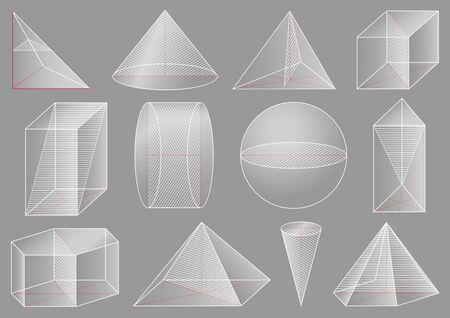 Three-dimensional geometric figure, school geometry. Graphical educational presentation. The cross-section solid. 版權商用圖片 - 147910695