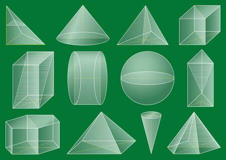 Three-dimensional geometric figure, school geometry. Graphical educational presentation. The cross-section solid. 版權商用圖片 - 147910425