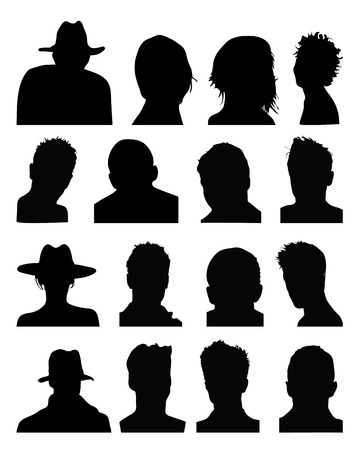 Set of black silhouettes of heads Stock Vector - 30170794