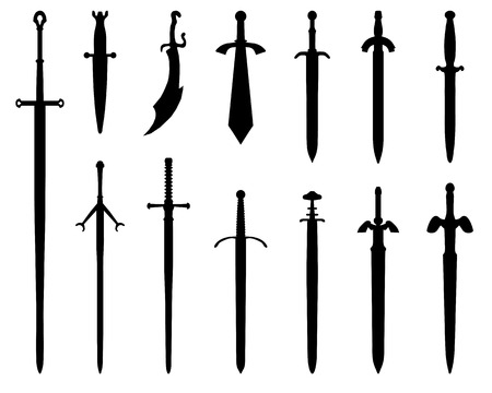 sword fight: Black silhouettes of swords on a white background Illustration