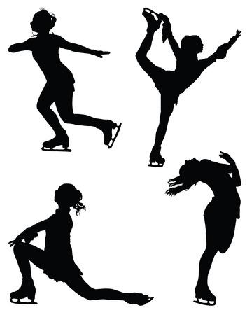 Schwarze Silhouetten der Eiskunstläufer, Vektor Vektorgrafik