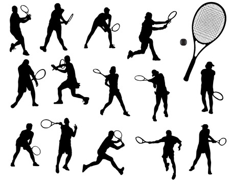 Black silhouettes of tennis player Vector