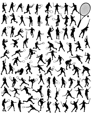 backhand: Black silhouettes of tennis player