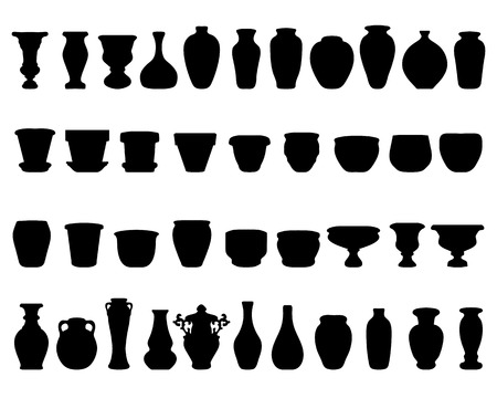 Black silhouettes of pottery and vases, vector Illustration