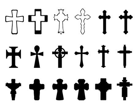 Schwarze Silhouetten der verschiedenen Kreuze, vector
