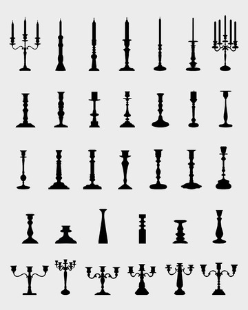 candlestick: Black silhouettes of  different candlesticks, vector