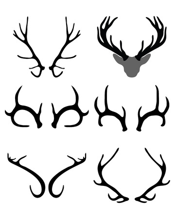 horny: Black silhouettes of horns of deer , vector