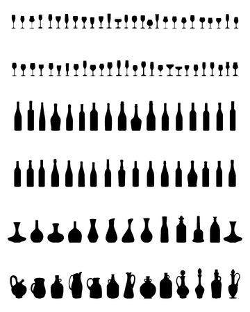 Silhouettes of pitchers, glasses and bottles