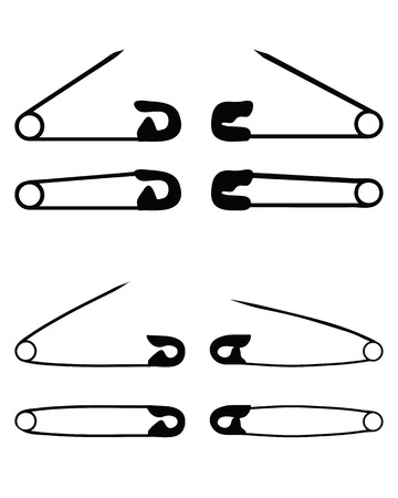 safety pin: Silhouettes of open and closed safety pin