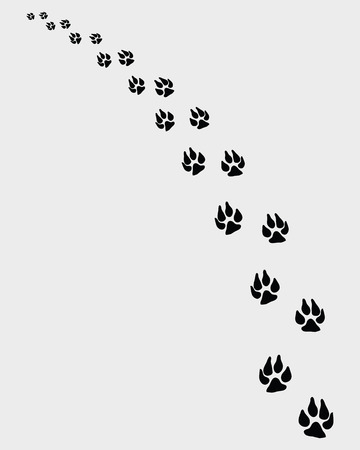 turn left: illustration of dogs footprints, turn left Illustration