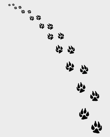 turn left: illustrazione di cani impronte, svoltare a sinistra