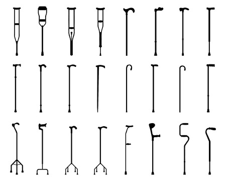 crutches: Black silhouettes of sticks and crutches
