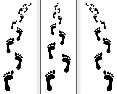 Trail of human bare footsteps Vector