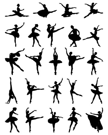 Black silhouettes of ballerinas, vector