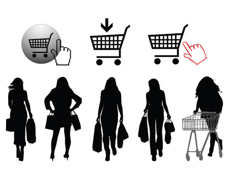 Silhouettes of shopping and signs-vector Vector